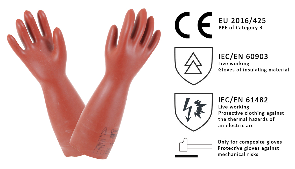 Composite insulating rubber gloves with arc flash protection