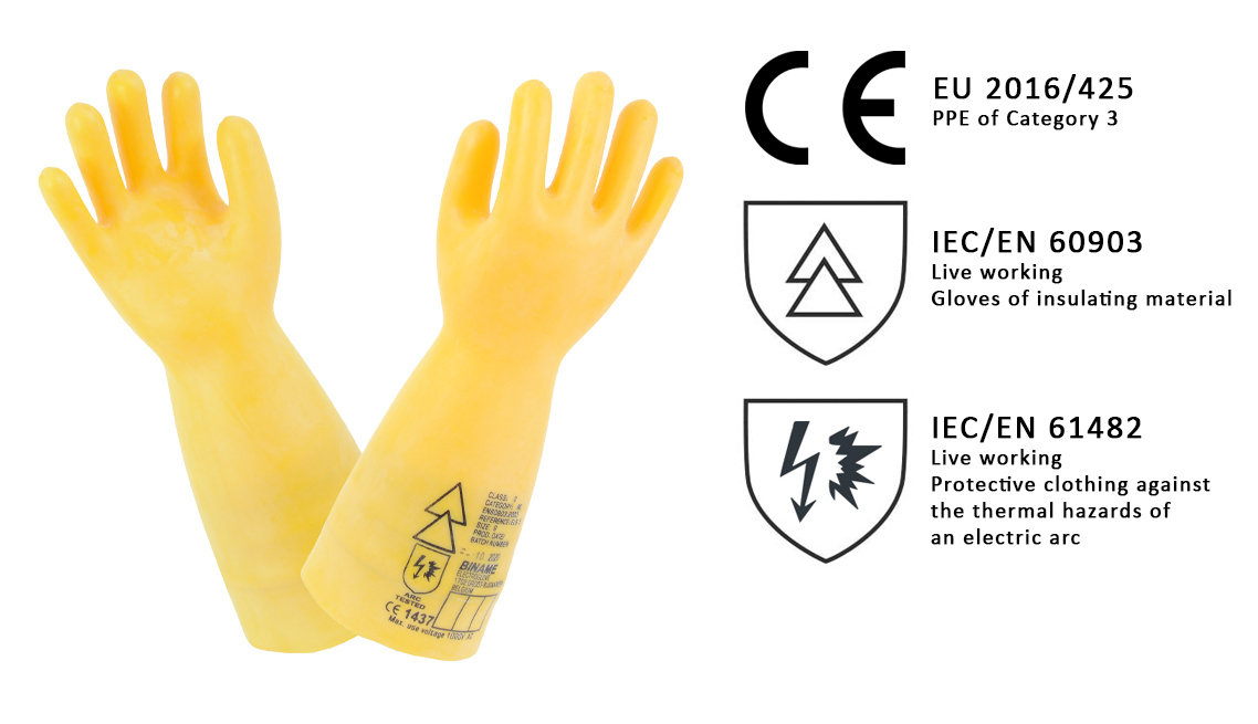 Insulating latex rubber gloves for electricians